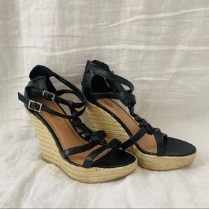🔥SALE🔥 black leather braided wedges
